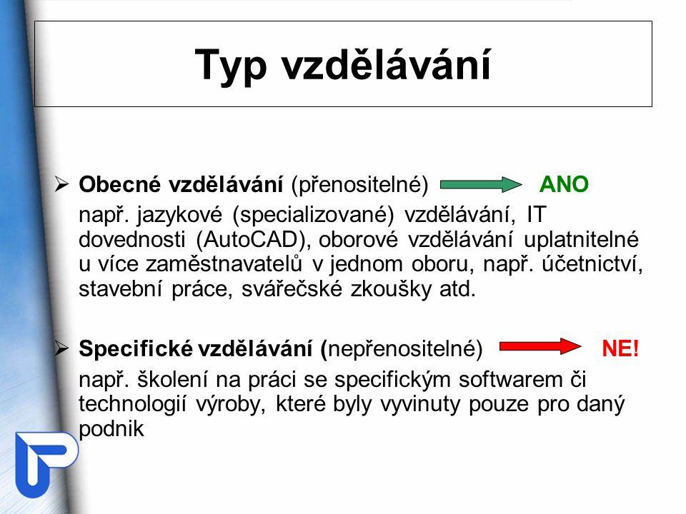  Obecné vzdělávání (přenositelné) ANO např. jazykové (specializované) vzdělávání, IT dovednosti (AutoCAD), oborové vzdělávání uplatnitelné u více zam