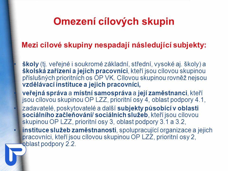 Omezení cílových skupin Mezi cílové skupiny nespadají následující subjekty: školy (tj.