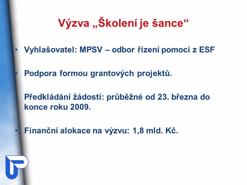 """Výzva """"Školení je šance"""" Vyhlašovatel: MPSV – odbor řízení pomoci z ESF Podpora formou grantových projektů. Předkládání žádostí: průběžné od 23. březn"""