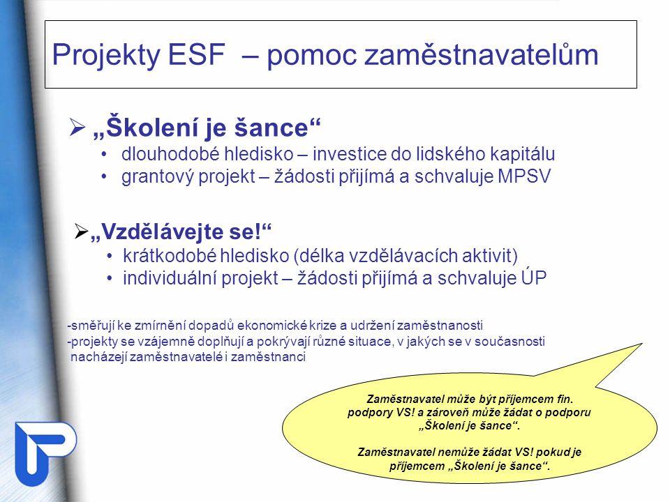 """ """"Školení je šance dlouhodobé hledisko – investice do lidského kapitálu grantový projekt – žádosti přijímá a schvaluje MPSV Projekty ESF – pomoc zaměstnavatelům  """"Vzdělávejte se! krátkodobé hledisko (délka vzdělávacích aktivit) individuální projekt – žádosti přijímá a schvaluje ÚP Zaměstnavatel může být příjemcem fin."""