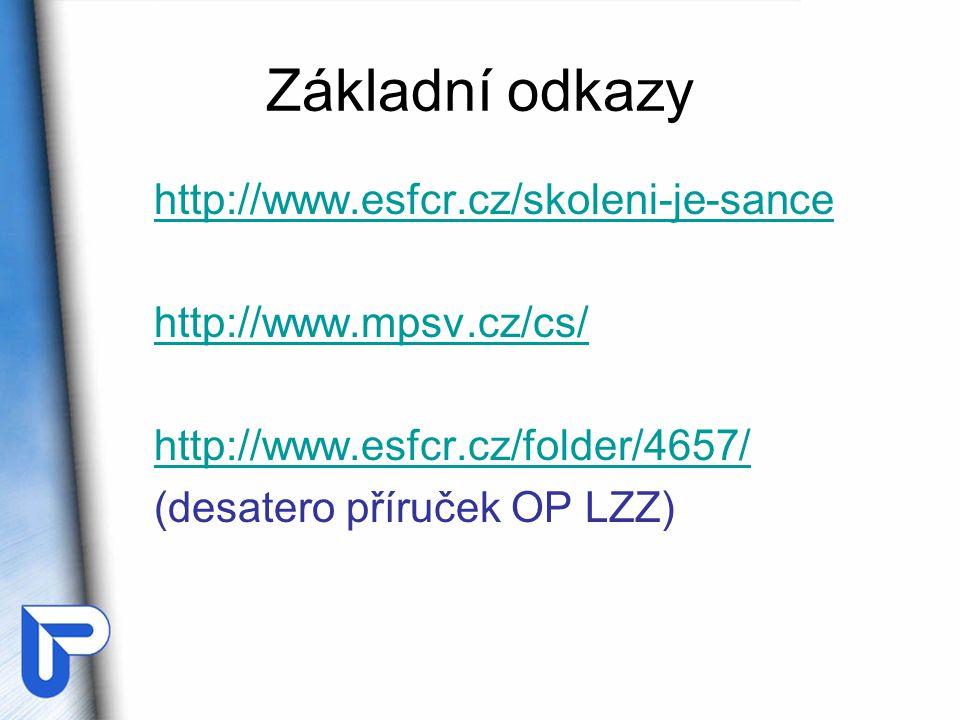 Základní odkazy http://www.esfcr.cz/skoleni-je-sance http://www.mpsv.cz/cs/ http://www.esfcr.cz/folder/4657/ (desatero příruček OP LZZ)