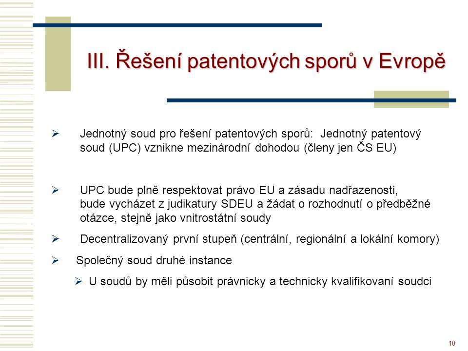 10 III. Řešení patentových sporů v Evropě  Jednotný soud pro řešení patentových sporů: Jednotný patentový soud (UPC) vznikne mezinárodní dohodou (čle
