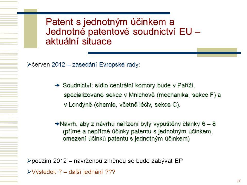 11 Patent s jednotným účinkem a Jednotné patentové soudnictví EU – aktuální situace 2012 – zasedání Evropské rady:  červen 2012 – zasedání Evropské rady:  Soudnictví: sídlo centrální komory bude v Paříži, specializované sekce v Mnichově (mechanika, sekce F) a v Londýně (chemie, včetně léčiv, sekce C).