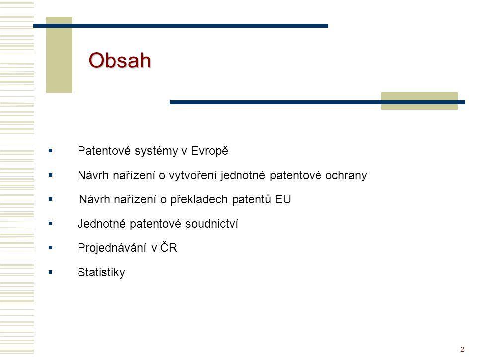 """3 Patentové systémy v Evropě Současnost: -Národní patent (platný na území ČR) -Evropský patent, validovaný pro dané území (ČR): """"evropským patentem se rozumí patent udělený EPÚ na základě EPC Návrh nařízení EP a Rady : """"Evropský patent s jednotným účinkem – rozumí se evropský patent mající jednotný účinek podle tohoto nařízení na území zúčastněných ČS"""