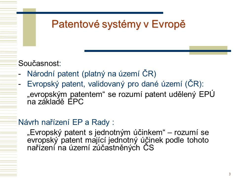 """3 Patentové systémy v Evropě Současnost: -Národní patent (platný na území ČR) -Evropský patent, validovaný pro dané území (ČR): """"evropským patentem"""" s"""