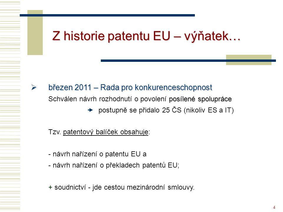 4 Z historie patentu EU – výňatek…  březen 2011 – Rada pro konkurenceschopnost posílené spolupráce Schválen návrh rozhodnutí o povolení posílené spol