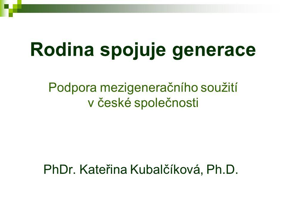 Rodina spojuje generace Podpora mezigeneračního soužití v české společnosti PhDr.