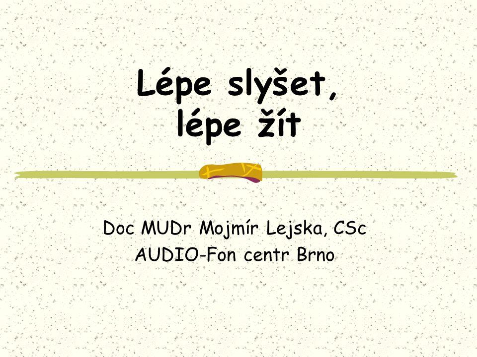 Lépe slyšet, lépe žít Doc MUDr Mojmír Lejska, CSc AUDIO-Fon centr Brno