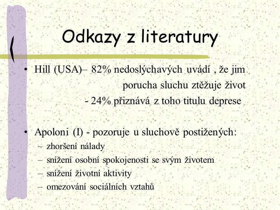 Odkazy z literatury Hill (USA)– 82% nedoslýchavých uvádí, že jim porucha sluchu ztěžuje život - 24% přiznává z toho titulu deprese Apoloni (I) - pozor