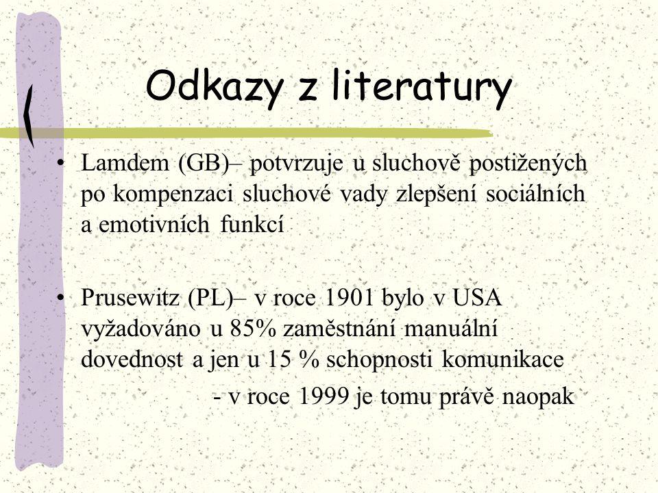 Odkazy z literatury Lamdem (GB)– potvrzuje u sluchově postižených po kompenzaci sluchové vady zlepšení sociálních a emotivních funkcí Prusewitz (PL)–
