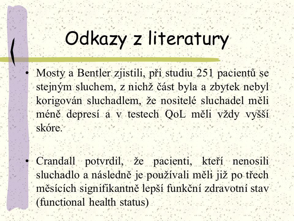 Odkazy z literatury Mosty a Bentler zjistili, při studiu 251 pacientů se stejným sluchem, z nichž část byla a zbytek nebyl korigován sluchadlem, že no