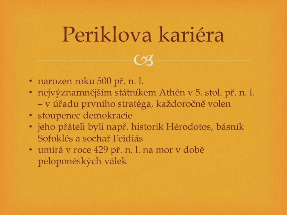  Periklova kariéra narozen roku 500 př. n. l. nejvýznamnějším státníkem Athén v 5. stol. př. n. l. – v úřadu prvního stratéga, každoročně volen stoup