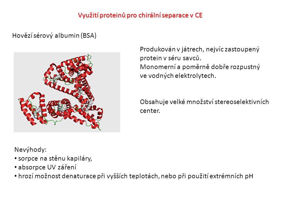 Využití proteinů pro chirální separace v CE Hovězí sérový albumin (BSA) Produkován v játrech, nejvíc zastoupený protein v séru savců.