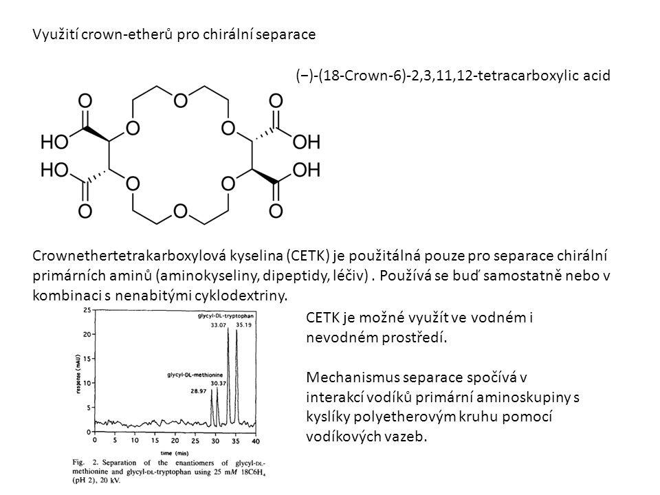 Využití crown-etherů pro chirální separace (−)-(18-Crown-6)-2,3,11,12-tetracarboxylic acid Crownethertetrakarboxylová kyselina (CETK) je použitálná pouze pro separace chirální primárních aminů (aminokyseliny, dipeptidy, léčiv).