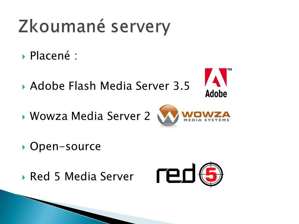  Placené :  Adobe Flash Media Server 3.5  Wowza Media Server 2  Open-source  Red 5 Media Server