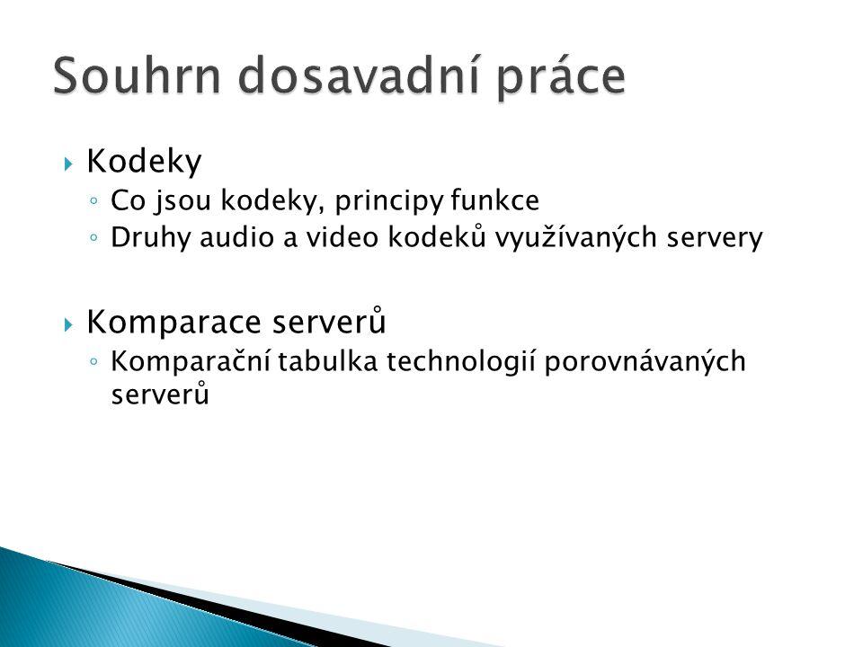  Kodeky ◦ Co jsou kodeky, principy funkce ◦ Druhy audio a video kodeků využívaných servery  Komparace serverů ◦ Komparační tabulka technologií porov