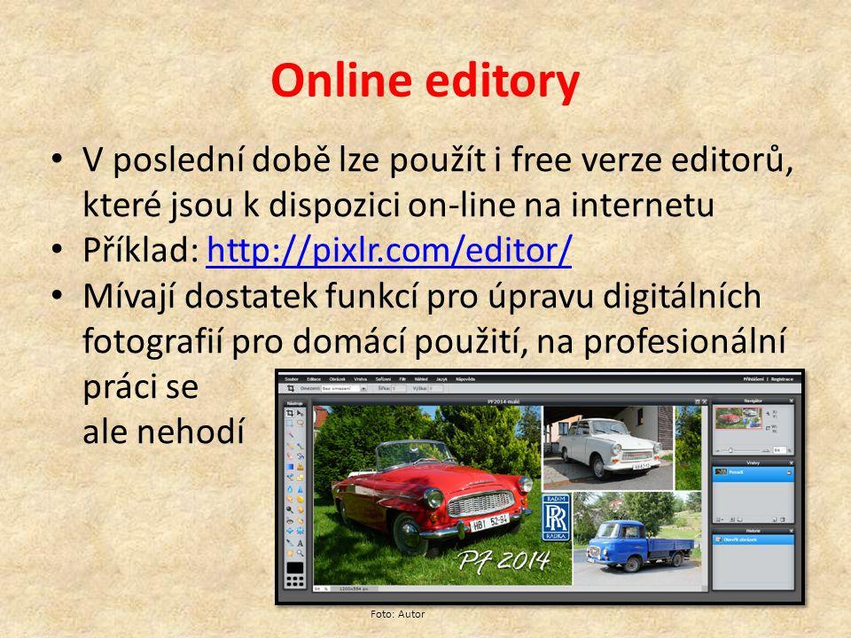 Online editory V poslední době lze použít i free verze editorů, které jsou k dispozici on-line na internetu Příklad: http://pixlr.com/editor/http://pixlr.com/editor/ Mívají dostatek funkcí pro úpravu digitálních fotografií pro domácí použití, na profesionální práci se ale nehodí Foto: Autor