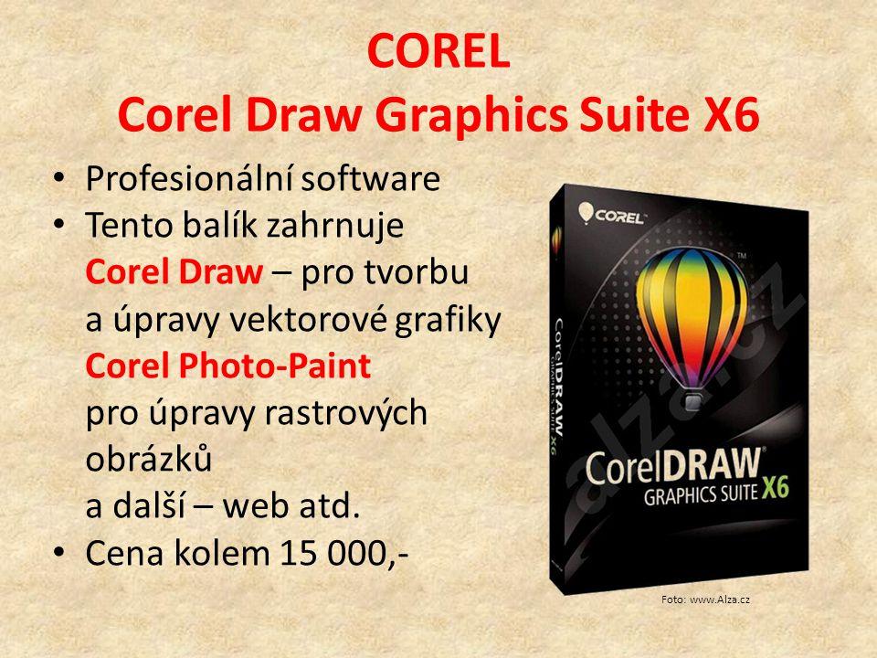 COREL Corel Draw Graphics Suite X6 Profesionální software Tento balík zahrnuje Corel Draw – pro tvorbu a úpravy vektorové grafiky Corel Photo-Paint pro úpravy rastrových obrázků a další – web atd.