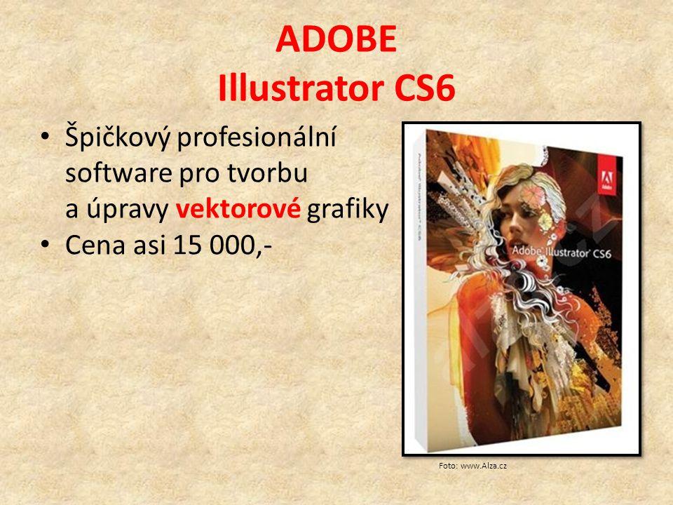ADOBE Photoshop CS6 Špičkový profesionální software pro tvorbu a úpravy rastrové grafiky Umožňuje práci s vrstvami Nabízí velké množství filtrů a různých funkcí pro retušování a další úpravy fotografií Cena asi 19 000,- Foto: www.Alza.cz