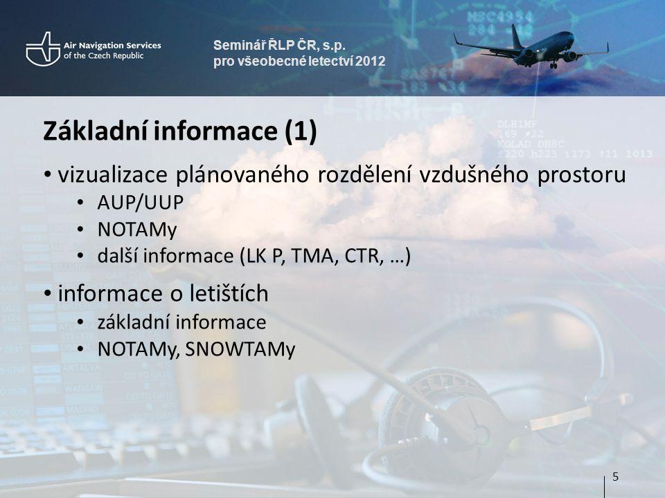 Seminář ŘLP ČR, s.p. pro všeobecné letectví 2012 Základní informace (1) vizualizace plánovaného rozdělení vzdušného prostoru AUP/UUP NOTAMy další info