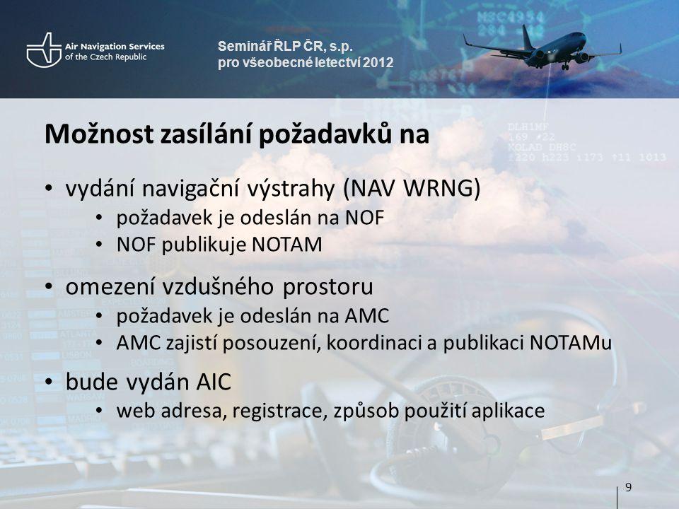 Seminář ŘLP ČR, s.p. pro všeobecné letectví 2012 Možnost zasílání požadavků na vydání navigační výstrahy (NAV WRNG) požadavek je odeslán na NOF NOF pu