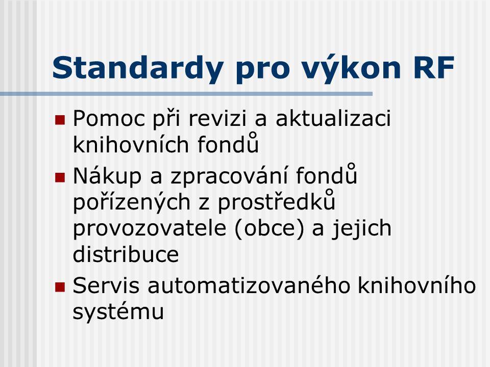 Standardy pro výkon RF Poradenská a konzultační činnost, metodické návštěvy, plány, rozbory Statistika knihovnických činností Vzdělávání knihovníků, s