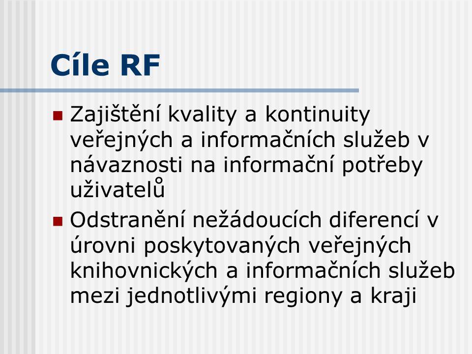 Cíle RF Zajištění dostupnosti veřejných knihovnických a informačních služeb ve všech místech ČR Vyrovnání rozdílů v úrovni poskytování veřejných infor