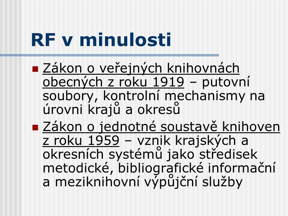 Cíle RF Udržení odborného standardu služeb v knihovnách regionu Garance kvalifikačního růstu pracovníků knihoven (celoživotní vzdělávání)