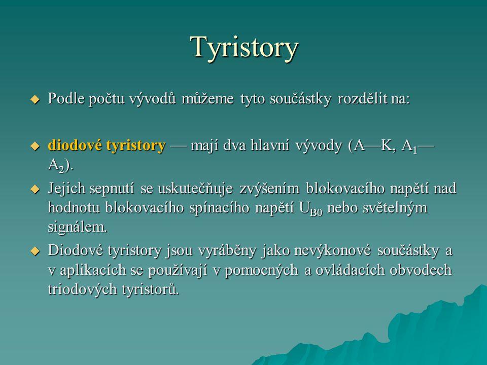 Tyristory  Podle počtu vývodů můžeme tyto součástky rozdělit na:  diodové tyristory — mají dva hlavní vývody (A—K, A 1 — A 2 ).  Jejich sepnutí se