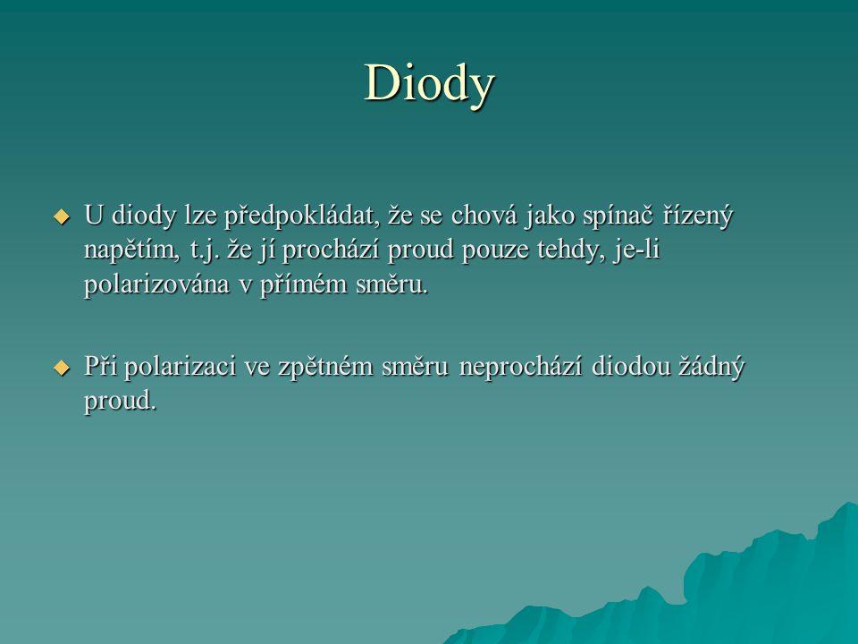 Diody  U diody lze předpokládat, že se chová jako spínač řízený napětím, t.j. že jí prochází proud pouze tehdy, je-li polarizována v přímém směru. 