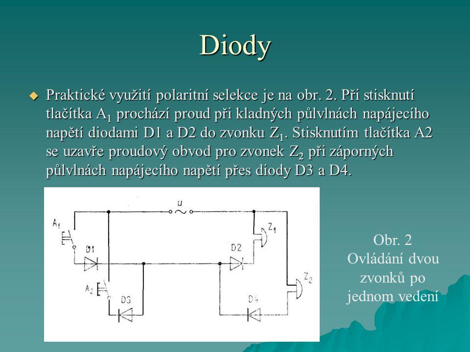 Diody  Praktické využití polaritní selekce je na obr. 2. Při stisknutí tlačítka A 1 prochází proud při kladných půlvlnách napájecího napětí diodami D