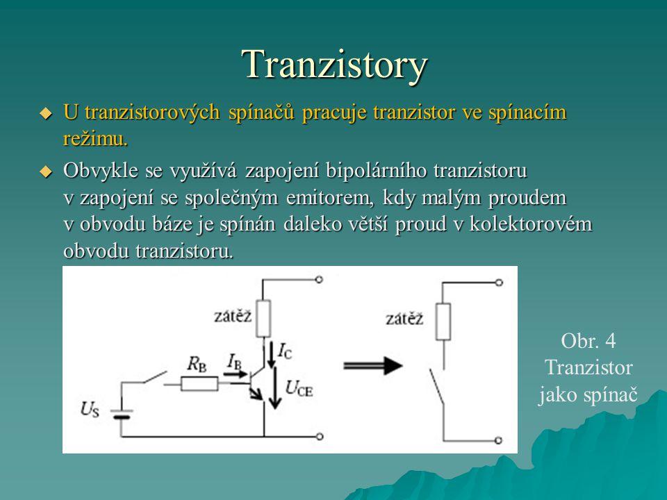 Tranzistory  U tranzistorových spínačů pracuje tranzistor ve spínacím režimu.  Obvykle se využívá zapojení bipolárního tranzistoru v zapojení se spo