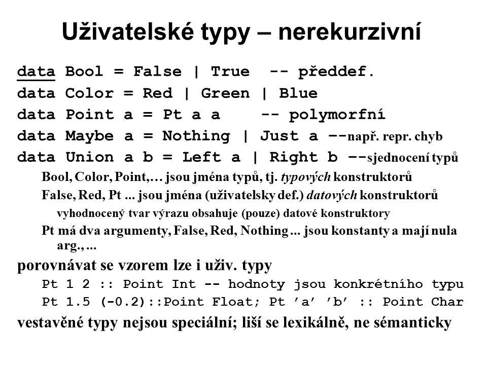 Uživatelské typy – nerekurzivní data Bool = False | True -- předdef. data Color = Red | Green | Blue data Point a = Pt a a-- polymorfní data Maybe a =