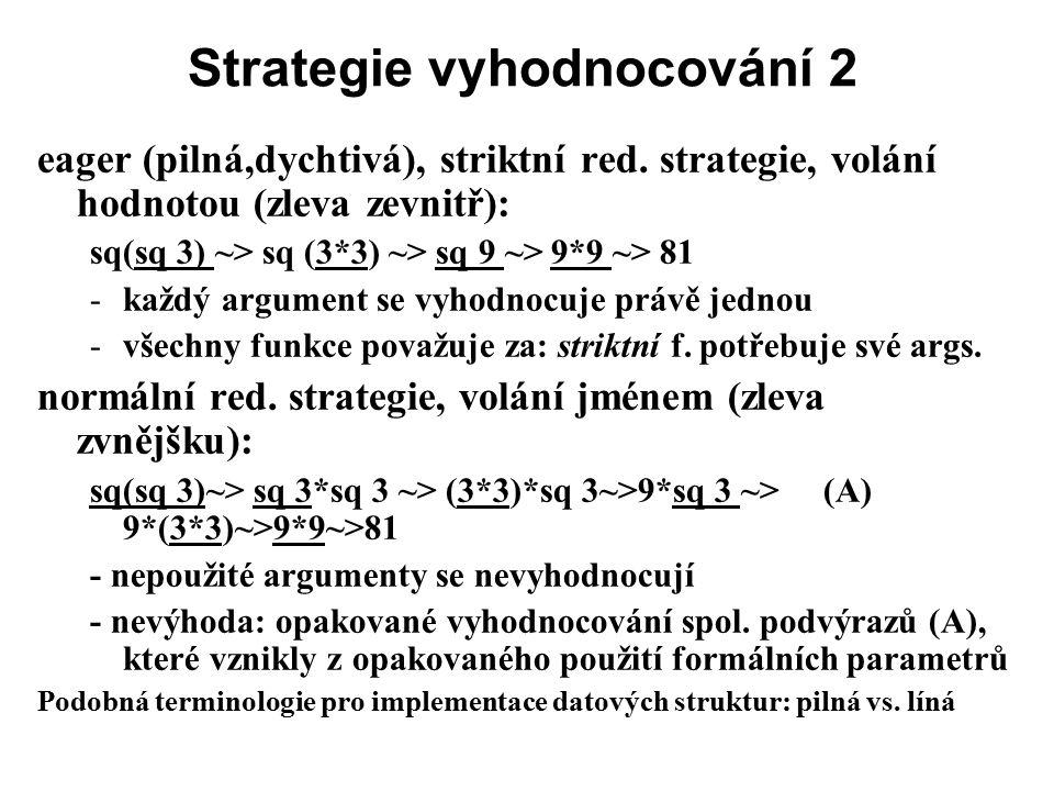 Strategie vyhodnocování 2 eager (pilná,dychtivá), striktní red. strategie, volání hodnotou (zleva zevnitř): sq(sq 3) ~> sq (3*3) ~> sq 9 ~> 9*9 ~> 81