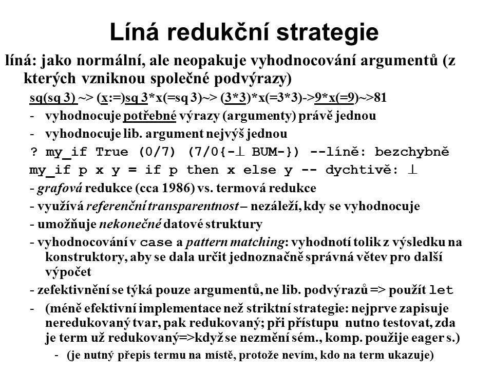 Líná redukční strategie líná: jako normální, ale neopakuje vyhodnocování argumentů (z kterých vzniknou společné podvýrazy) sq(sq 3) ~> (x:=)sq 3*x(=sq