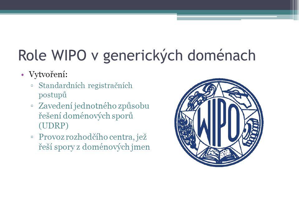 Role WIPO v generických doménach Vytvoření: ▫Standardních registračních postupů ▫Zavedení jednotného způsobu řešení doménových sporů (UDRP) ▫Provoz ro