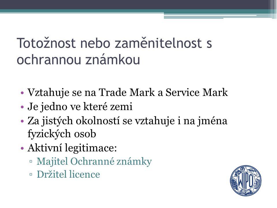 Totožnost nebo zaměnitelnost s ochrannou známkou Vztahuje se na Trade Mark a Service Mark Je jedno ve které zemi Za jistých okolností se vztahuje i na
