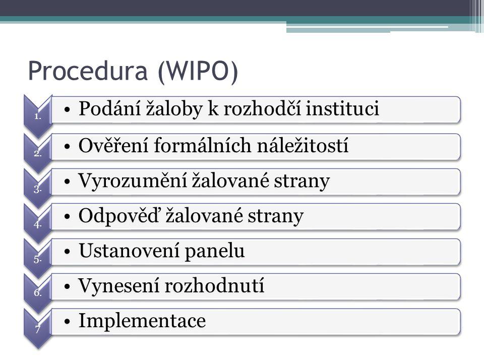 Procedura (WIPO) 1. Podání žaloby k rozhodčí instituci 2. Ověření formálních náležitostí 3. Vyrozumění žalované strany 4. Odpověď žalované strany 5. U
