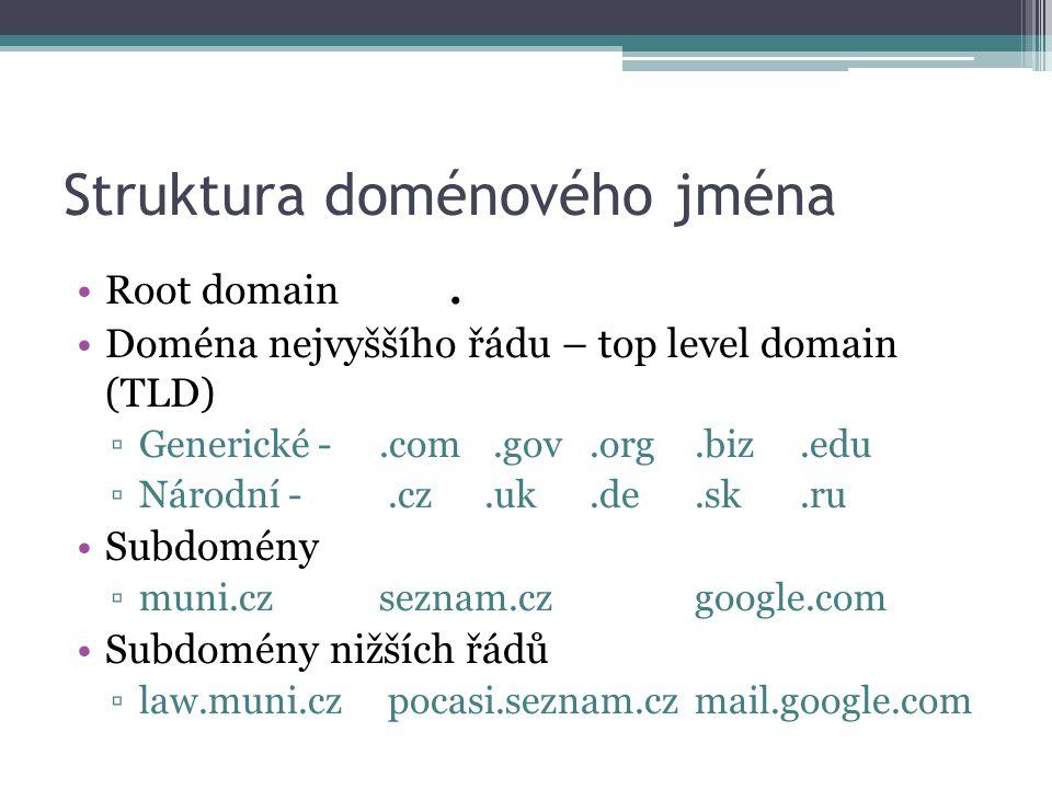 Struktura doménového jména Root domain. Doména nejvyššího řádu – top level domain (TLD) ▫Generické -.com.gov.org.biz.edu ▫Národní -.cz.uk.de.sk.ru Sub