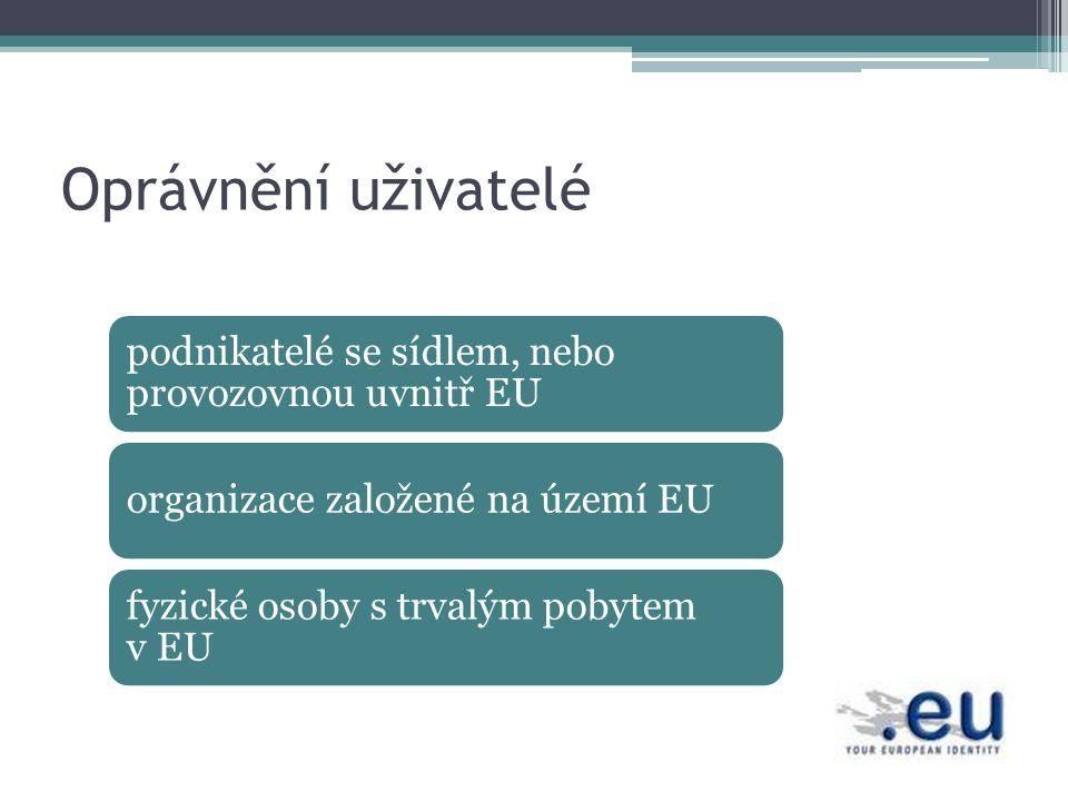 Oprávnění uživatelé podnikatelé se sídlem, nebo provozovnou uvnitř EU organizace založené na území EU fyzické osoby s trvalým pobytem v EU