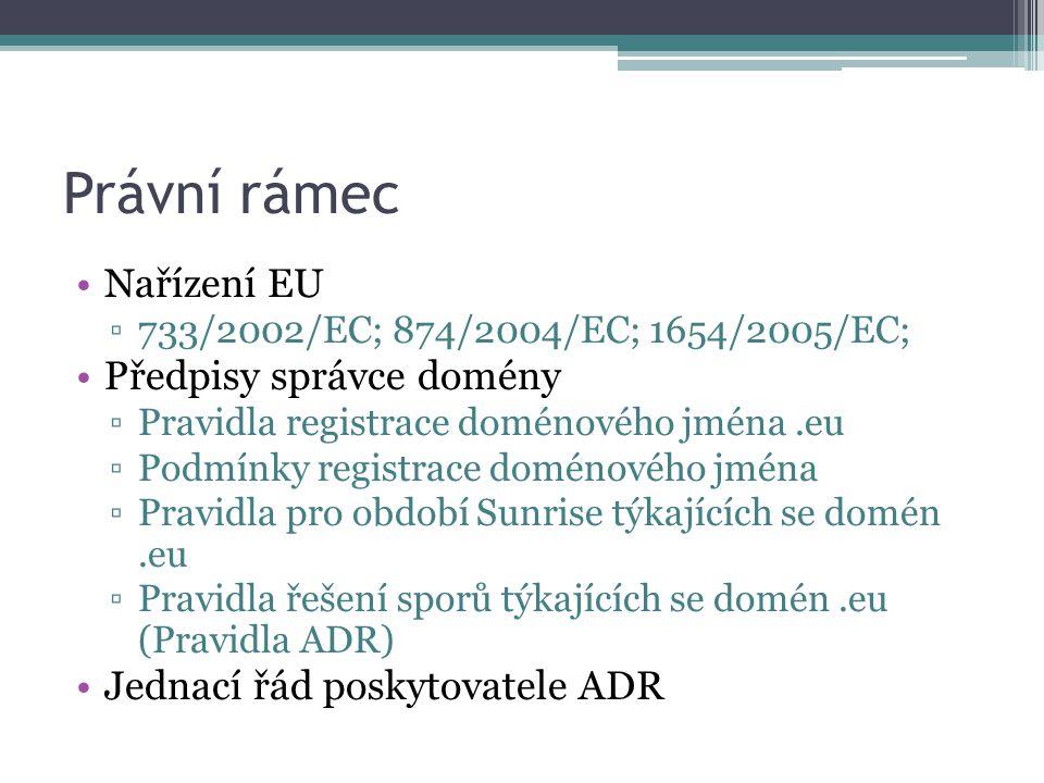 Právní rámec Nařízení EU ▫733/2002/EC; 874/2004/EC; 1654/2005/EC; Předpisy správce domény ▫Pravidla registrace doménového jména.eu ▫Podmínky registrac