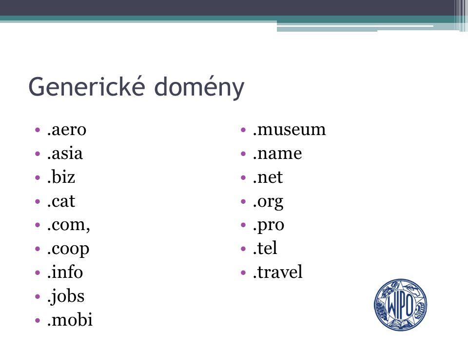 Role WIPO v generických doménach Vytvoření: ▫Standardních registračních postupů ▫Zavedení jednotného způsobu řešení doménových sporů (UDRP) ▫Provoz rozhodčího centra, jež řeší spory z doménových jmen