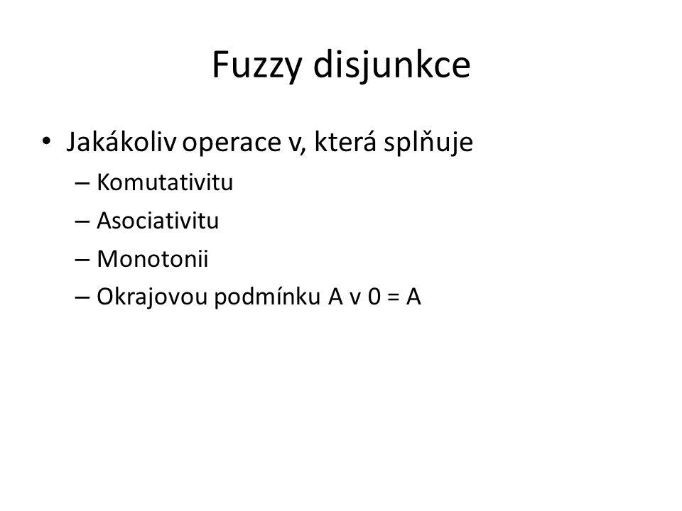 Fuzzy disjunkce Jakákoliv operace v, která splňuje – Komutativitu – Asociativitu – Monotonii – Okrajovou podmínku A v 0 = A