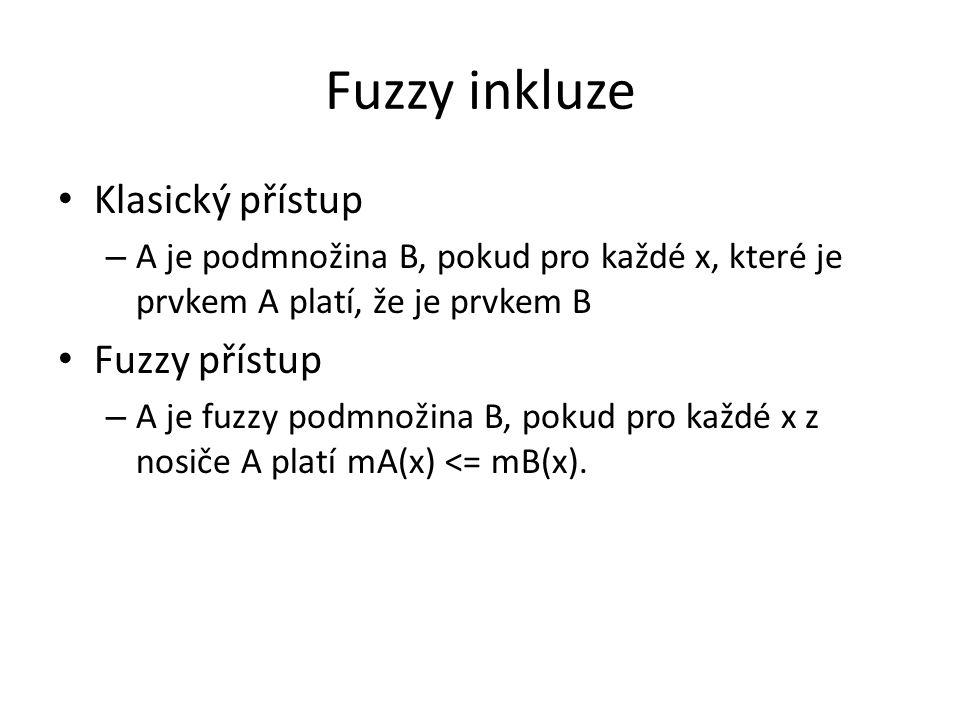 Fuzzy inkluze Klasický přístup – A je podmnožina B, pokud pro každé x, které je prvkem A platí, že je prvkem B Fuzzy přístup – A je fuzzy podmnožina B, pokud pro každé x z nosiče A platí mA(x) <= mB(x).