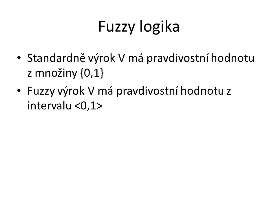 Fuzzy logika Standardně výrok V má pravdivostní hodnotu z množiny {0,1} Fuzzy výrok V má pravdivostní hodnotu z intervalu