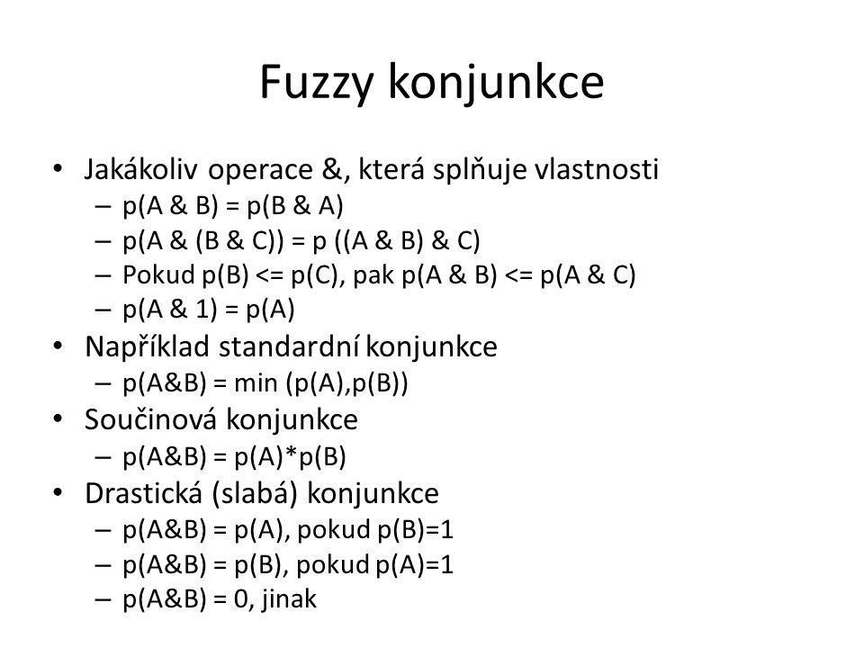 Fuzzy konjunkce Jakákoliv operace &, která splňuje vlastnosti – p(A & B) = p(B & A) – p(A & (B & C)) = p ((A & B) & C) – Pokud p(B) <= p(C), pak p(A & B) <= p(A & C) – p(A & 1) = p(A) Například standardní konjunkce – p(A&B) = min (p(A),p(B)) Součinová konjunkce – p(A&B) = p(A)*p(B) Drastická (slabá) konjunkce – p(A&B) = p(A), pokud p(B)=1 – p(A&B) = p(B), pokud p(A)=1 – p(A&B) = 0, jinak