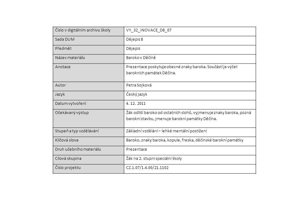 Číslo v digitálním archivu školyVY_32_INOVACE_D8_07 Sada DUMDějepis 8 PředmětDějepis Název materiáluBaroko v Děčíně Anotace Prezentace poskytuje obecn