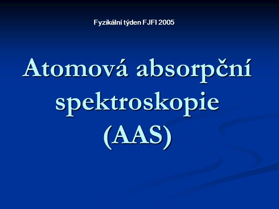 Atomová absorpční spektroskopie (AAS) Fyzikální týden FJFI 2005