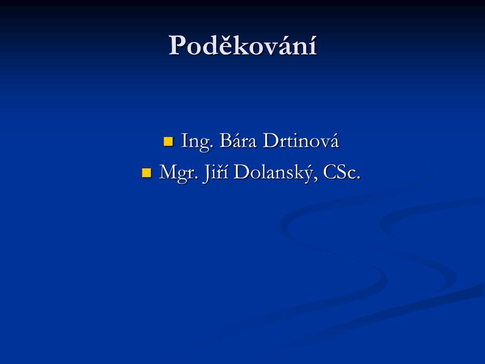 Poděkování Ing. Bára Drtinová Ing. Bára Drtinová Mgr. Jiří Dolanský, CSc. Mgr. Jiří Dolanský, CSc.