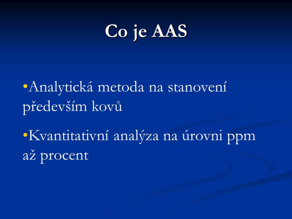 Co je AAS Analytická metoda na stanovení především kovů Kvantitativní analýza na úrovni ppm až procent